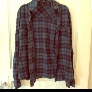 Forever 21 blue plaid button down long sleeve